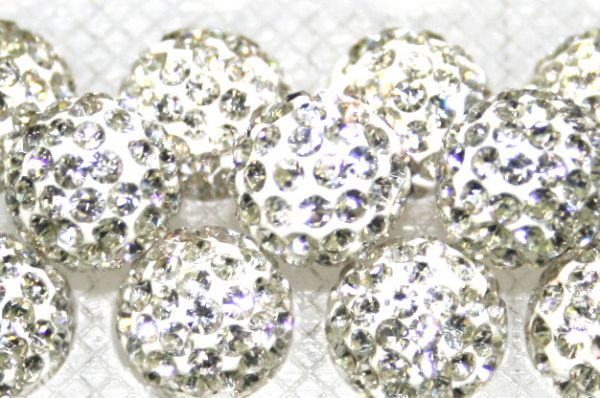 8mm Clear 70 Stone - Pave Crystal Beads- Half Drilled  PCBHD08-070-003